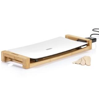 Plancha électrique en aluminium et bambou Design - Thermostat réglable - 50 x 25 cm