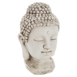 Statuette tête de Bouddha - H. 26 cm - Blanc vieilli