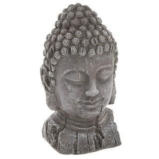 Statuette tête de Bouddha - H. 32 cm - Effet bois