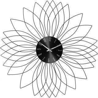 Pendule murale en métal Fleur - Diam. 50 cm - Noir