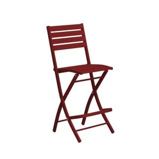 Chaise haute pliante de jardin Marius - 46 x H. 110 cm - Rouge carmin