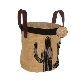 Panier cache pot en jute Tropical - Diam. 24 cm - Cactus