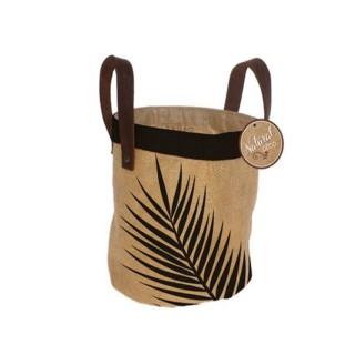 Panier cache pot en jute Tropical - Diam. 24 cm - Feuilles