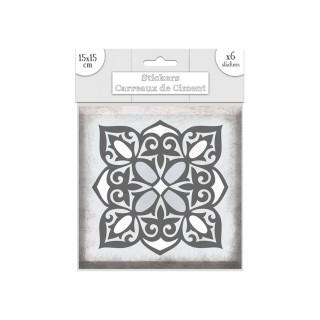 6 Stickers carreaux de ciment Fleurs - 15 x 15 cm - Gris