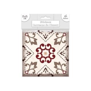 6 Stickers carreaux de ciment Fleurs - 15 x 15 cm - Brun