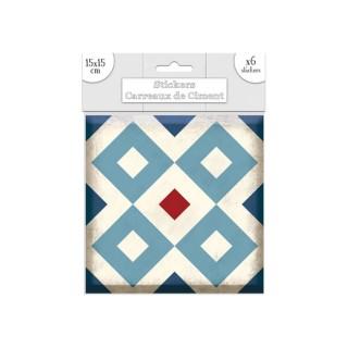 6 Stickers carreaux de ciment Losange - 15 x 15 cm - Bleu