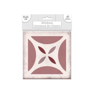 6 Stickers carreaux de ciment Carré - 15 x 15 cm - Rose