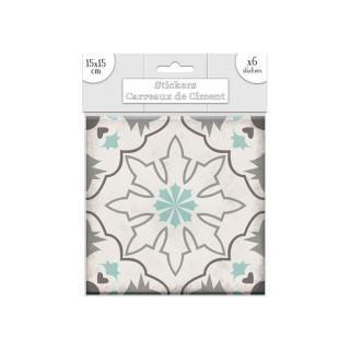 6 Stickers carreaux de ciment Flocons - 15 x 15 cm - Vert