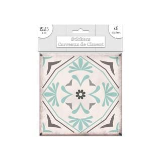 6 Stickers carreaux de ciment Fleurs - 15 x 15 cm - Vert