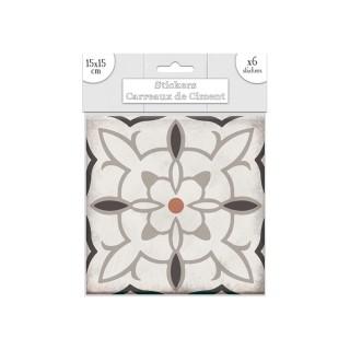 6 Stickers carreaux de ciment Carré - 15 x 15 cm - Taupe