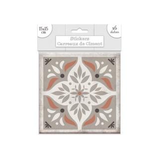 6 Stickers carreaux de ciment Losange - 15 x 15 cm - Taupe