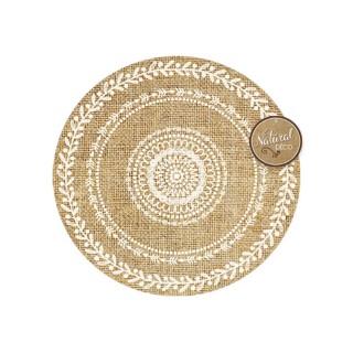 Set de table rond en jute Ethnik - Diam. 39 cm - Rosace feuilles