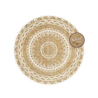 Set de table rond en jute Ethnik - Diam. 39 cm - Rosace triangles
