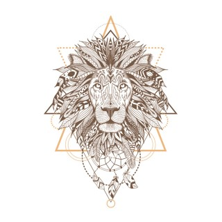 Sticker boho Lion - 70 x 50 cm - Blanc et marron