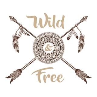 Sticker boho flèches Wild Free - 70 x 50 cm - Blanc et marron