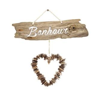 Sticker cœur Bonheur - 70 x 20 cm - Blanc et marron