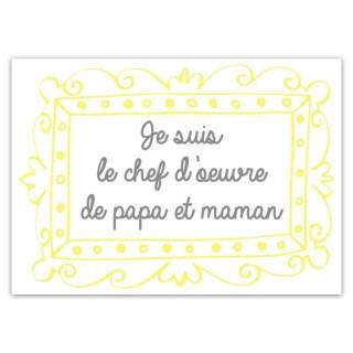 Sticker enfant Papa et Maman - 70 x 50 cm - Blanc et jaune