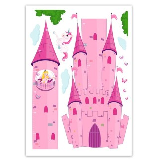 Sticker enfant Princesse - 70 x 50 cm - Rose