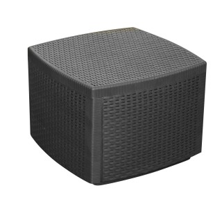 Table coffre d'appoint effet rotin Naxos - 53 x H. 40 cm - Noir