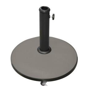 Pied de parasol rond en ciment avec roulettes - 25 kg - Taupe