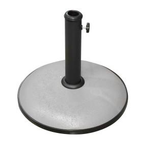 Pied de parasol rond en ciment - 15 kg - Gris foncé