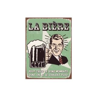 Plaque de décoration en métal Bière - 40 x 30 cm - Vert