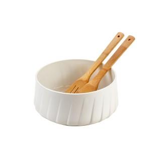Saladier en porcelaine avec couverts en bois - Diam. 25,8 cm - Blanc