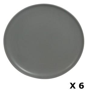 6 Assiettes plates en faïence Togo - Diam. 26 cm - Gris uni