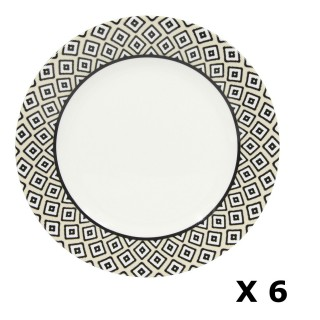 6 Assiettes plates en porcelaine Kumasi - Diam. 26 cm - Blanc et noir