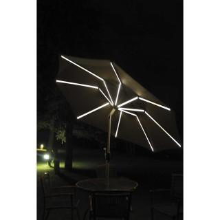 Parasol droit à LED Monaco - Diam. 270 cm - Taupe