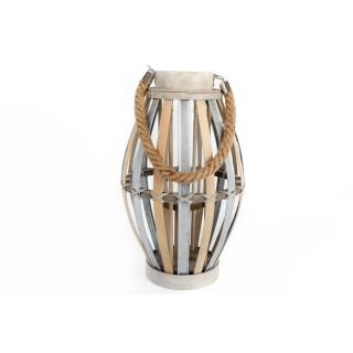 Lanterne en bois Klea - H. 35 cm - Bois usé
