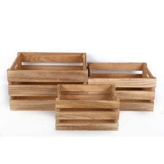 3 Cagettes de rangement en bois - 38 x H. 21,5 cm - Marron