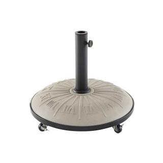 Pied de parasol à roulettes en béton - 25 kg - Taupe