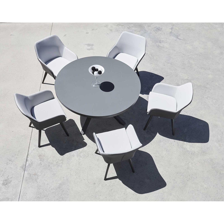 Table de jardin ronde 6 Personnes Malaga - Diam. 140 cm ...