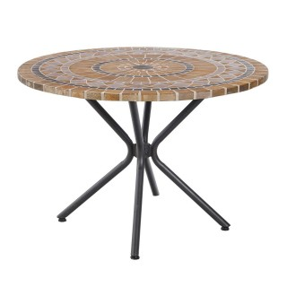 Table de jardin ronde 4 Personnes Marseille - Diam. 110 cm - Marron