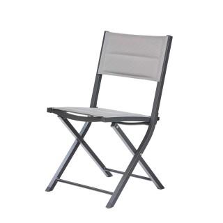 Chaise de jardin pliante Bodrum - Aluminium et textilène - Gris perle