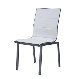 Chaise de jardin Ajaccio - Aluminium et textilène - Gris perle