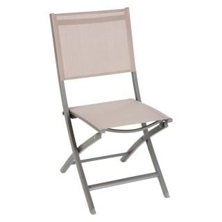 Chaise de jardin pliante Essentia - Aluminium et texaline - Taupe et Gris clair