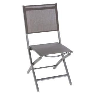 Chaise de jardin pliante Essentia - Aluminium et texaline - Gris anthracite