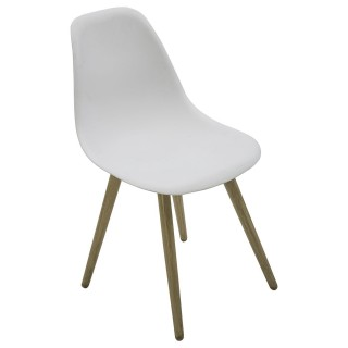 Chaise de jardin scandinave North - Blanc pieds effet bois