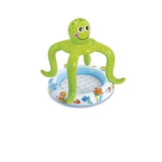 Piscine bébé gonflable avec ombrelle Pieuvre - Diam. 102 x H. 104 cm - Vert