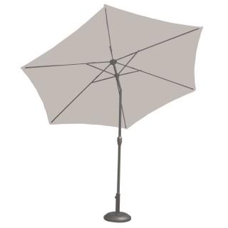 Parasol droit à LED Monaco - Diam. 270 cm - Gris perle