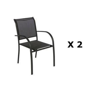 2 Chaises de jardin Piazza - H. 88 cm - Noir chiné