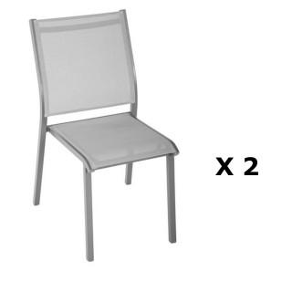 2 Chaises de jardin Essentia - H. 88 cm - Argent