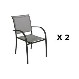 2 Chaises de jardin Piazza - H. 88 cm - Gris et noir