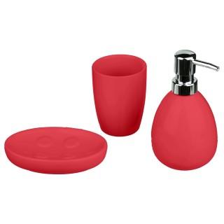 Coffret accessoires de salle de bain Sun - 3 Pièces - Coquelicot