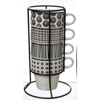 4 Mugs avec support Bohemia - Noir et blanc