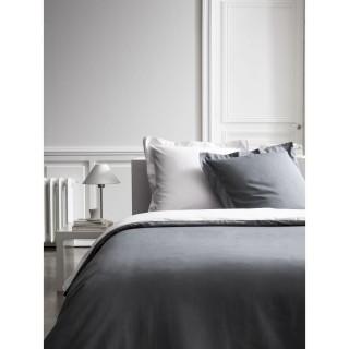 Housse de couette et 2 Taies d'oreiller Bicolore - 240 x 260 cm - Coton Percale - Gris foncé et gris clair