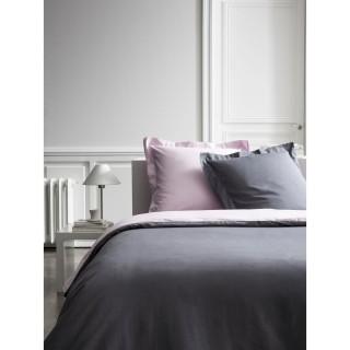 Housse de couette et 2 Taies d'oreiller Bicolore - 240 x 260 cm - Coton Percale - Gris et lila