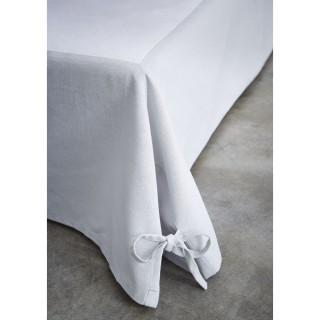 Cache sommier avec nouettes - 160 x 200 cm - Gris clair